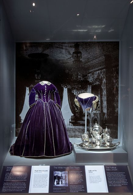 Mary Lincoln's Purple Velvet Ensemble    This outfit believed to have been made by African American dressmaker Elizabeth Keckly and worn by the first lady during the winter social season of 1861–62. All three pieces are piped with white satin. The daytime bodice is trimmed with mother-of pearl buttons. Its lace collar is of the period but is not original to the bodice. The evening bodice is trimmed with lace and chenille fringed braid.