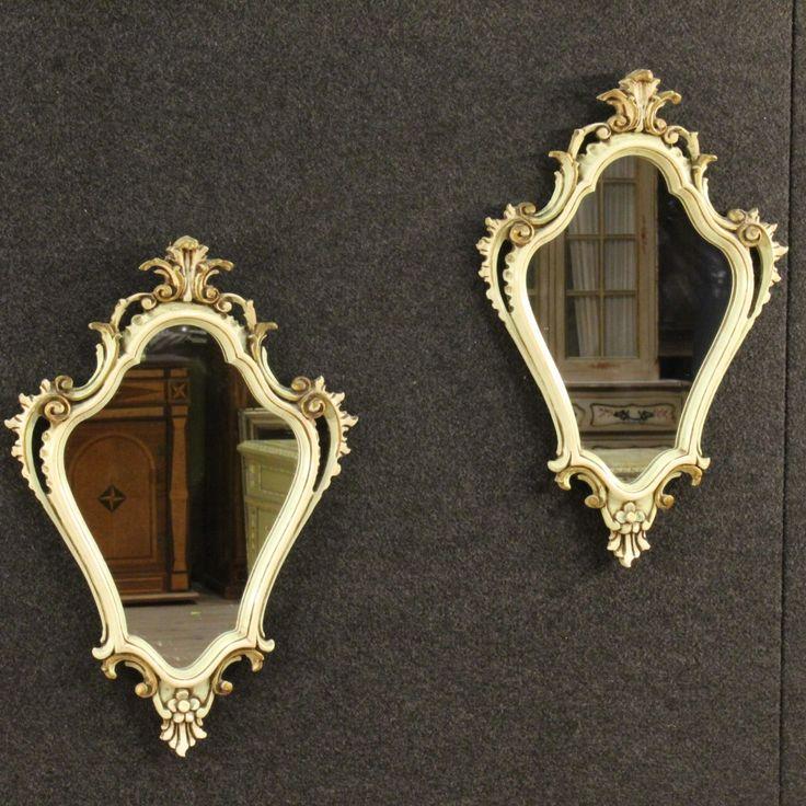 550€ Pair of lacquered and gilded Venetian mirrors. Visit our website www.parino.it #antiques #antiquariato #furniture #antiquities #antiquario #mirror #miroir #specchio #specchiera #golden #gold #decorative #interiordesign #homedecoration #antiqueshop #antiquestore