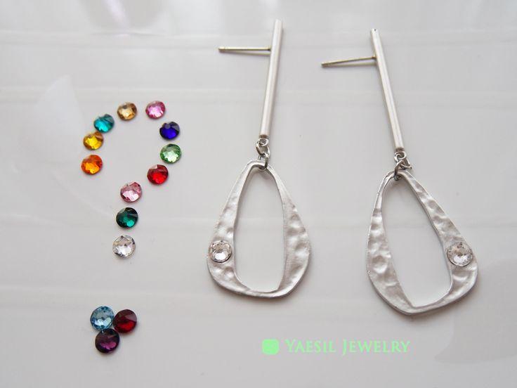 Bar Earrings, Bar and Ring Earrings, Personalized Earrings with Choice of Crystals , Personalized Dangle Earrings, Sterling Silver Post by YaesilJewelry on Etsy