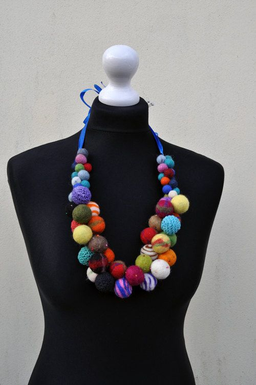 Reserved  Felted necklace fibre art gift by AleksandrabWiniarska