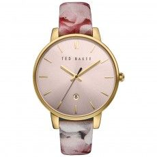 Ladies Ted Baker Pink Floral Leather Strap Watch