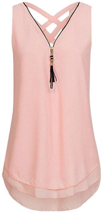 d59d0b51ace765 Amazon.com: Qisc Womens Tops Women Casual Summer Chiffon Blouse V Neck  Sleeveless Top Shirts with Zipper (M, Pink): Clothing