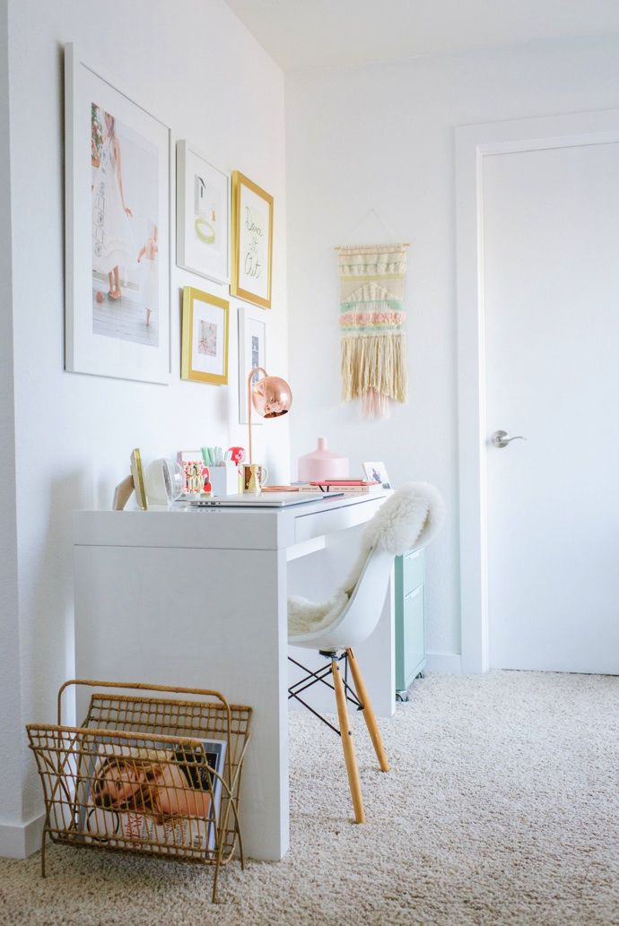 White + bright office space the whole decoration with gold accents #thedailylady www.thedailylady.eu