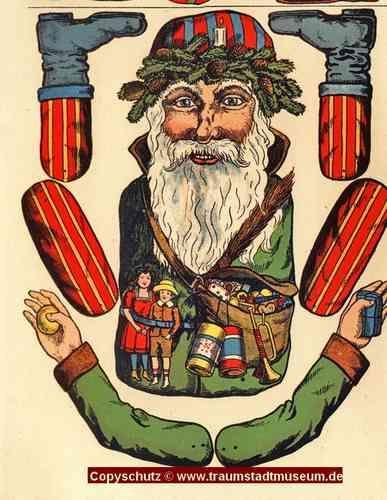Weihnachtsmann 4 verschiedene Hampelmänner Ziehfiguren Bastelbogen Reprint von 1897 aus Museum