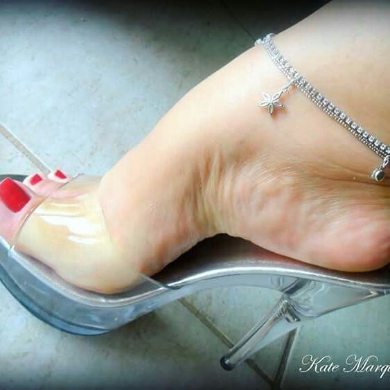 Clear mules, anklet, and nice feet