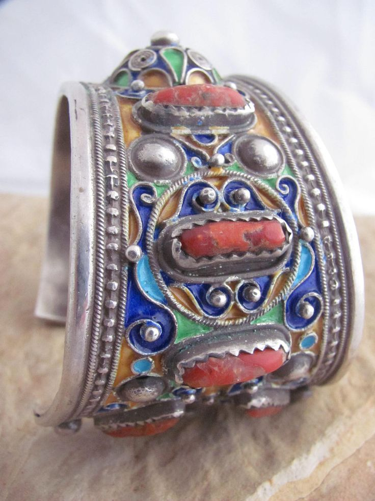 Contemporary Berber cuff bracelet from the Anti Atlas region in southern Morocco   Silver, coral and enamel