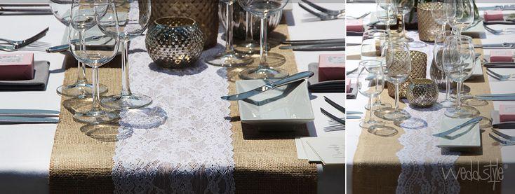 Jute tischl ufer mit spitze for Hochzeitseinladungen vintage mit spitze