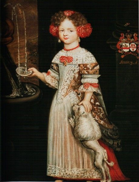 Brabant school, the end of the 17th century. Three year old girl at a fountain.