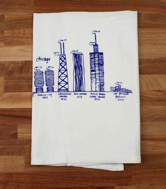 Chicago buildings diagram tea towel - white cotton floursack kitchen towel on Etsy, $16.00
