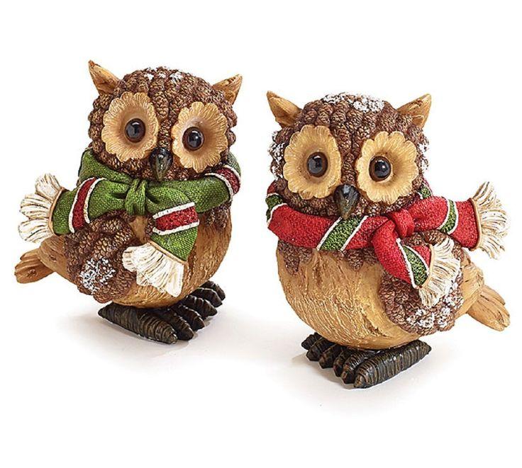 Attractive Set Of 2 #Christmas Snow #Owl Figurines Adorable Holiday Home Decor: Home U0026