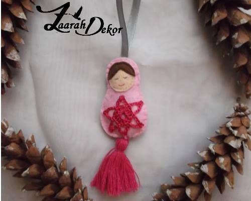 Filc baba rózsaszín pink csillaggal