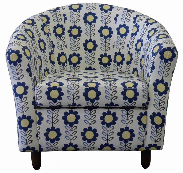 Diva - Luxury Tub Chair in Blendworth's Halcyon Daisy Chain with Dark Oak leg finish