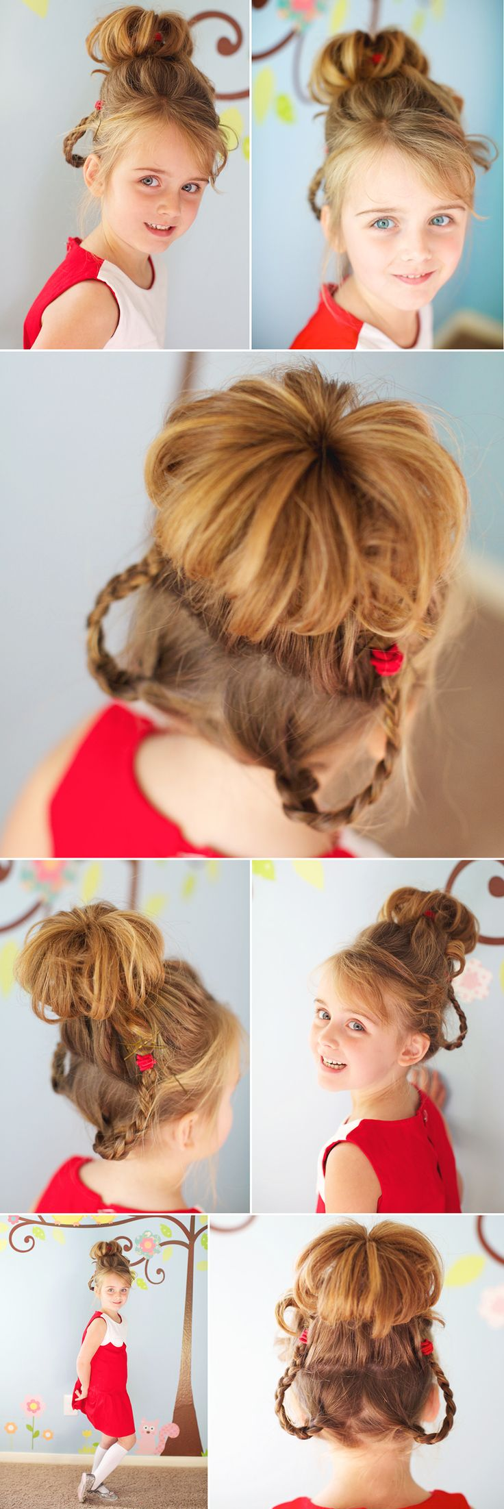 Cute hair idea for the Christmas party!  the theme is Whoville