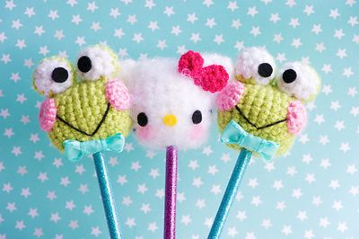 Keroppi and Hello Kitty Crocheted Pencil Toppers made by Sugarelf