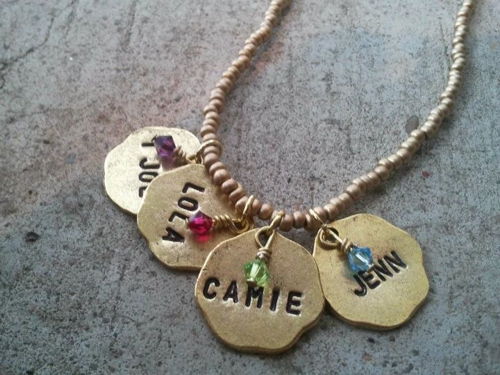 Name Charm Necklace in Gold with Birthstones  Starts at $17: Photo