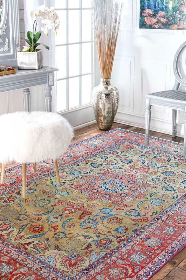 Floral Mehandi Kashan Wool Rugs Online With Perfect Combination Of