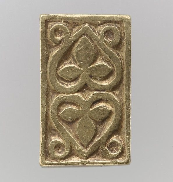 Gold Slide for a Belt or Strap  Date:700s Culture:Avar Medium:Gold-The treasure contains an array of belt fittings, some elaborately decorated, some unfinished or defectively cast. Some show no signs of use, while others are quite worn.<br/><br/>The Avars<br/>The Avars were a nomadic tribe of mounted warriors from the Eurasian steppe