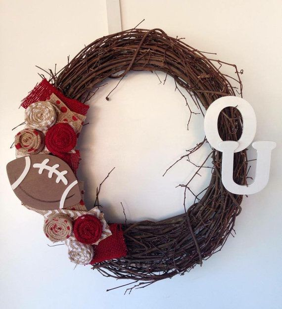 OU or Oklahoma City Thunder grapevine wreath by MandyJsCrafts. OU wreath. OU decor. University of Oklahoma wreath and decor. Customizable!