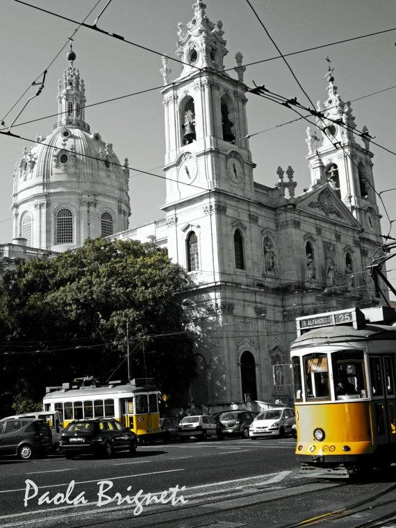 Estrela Basilica and Cable Car in Lisbon, Portugal