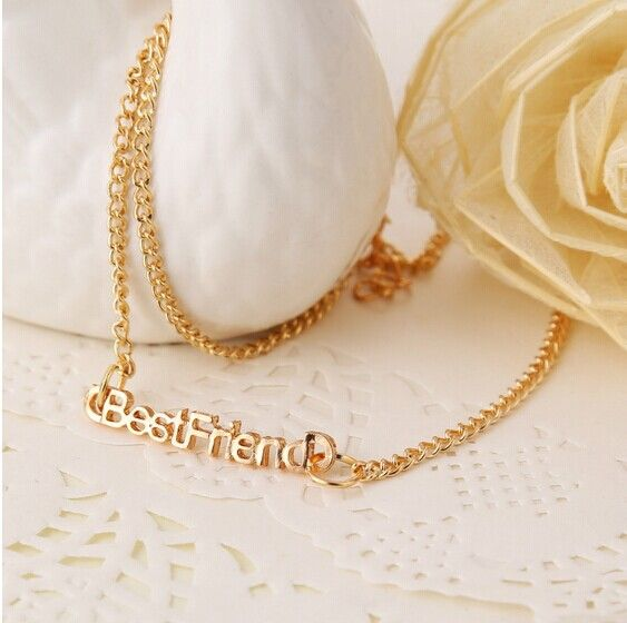 Trendy Best Friend Letter Pendant Chain Necklace Women Golden Sliver Color Pick Girls Gifts Accessories Free Shipping