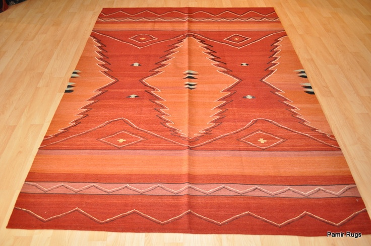 Indian Navajo Design 5x7 Orangish Red Orange Color Rug Hand Woven Handmade Rug | eBay