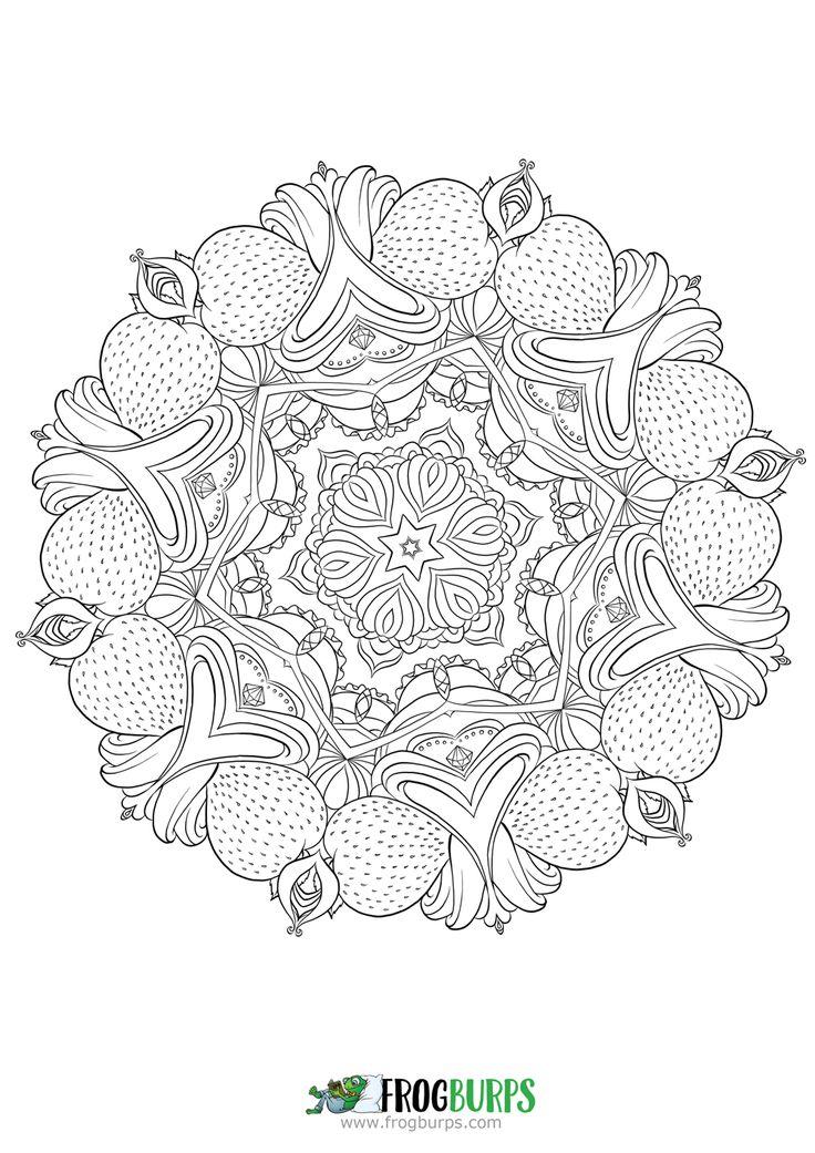 Strawberry Mandala   Coloring Page
