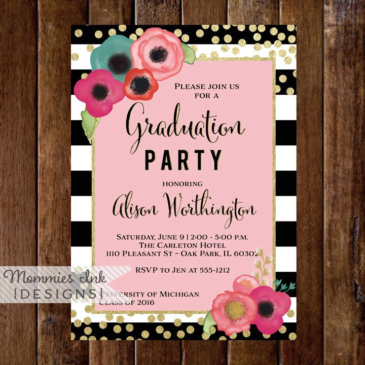 sample open house graduation party invitations%0A Graduation Party Invitation  Watercolor Floral Black  u     White Stripe Invite  Open  House Invite