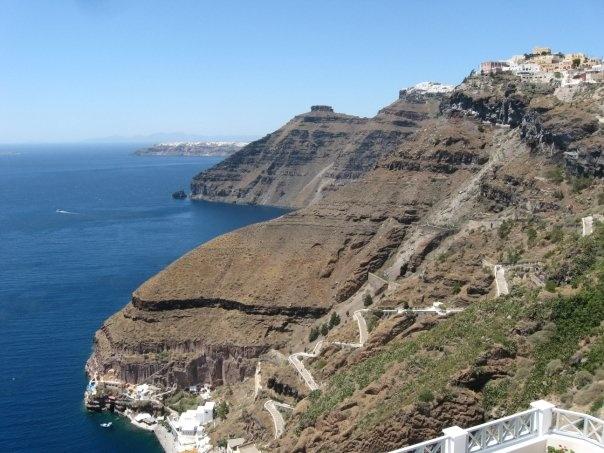 Santorini road to port. Greece