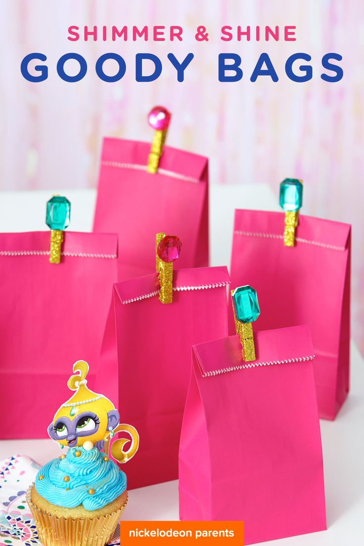 Make shimmering, shining clothespins to secure goody bags for your preschooler's Shimmer and Shine birthday party. All you need is clothespins, glitter, gems, and glue! Who knew clothespins could be so pretty?