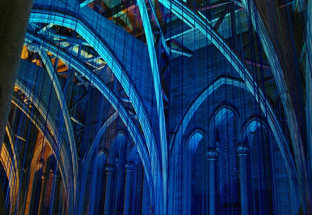 Graced With Light - a ribbon installation at Grace Cathedral. Anne Patterson, Artist in Residence 2013.