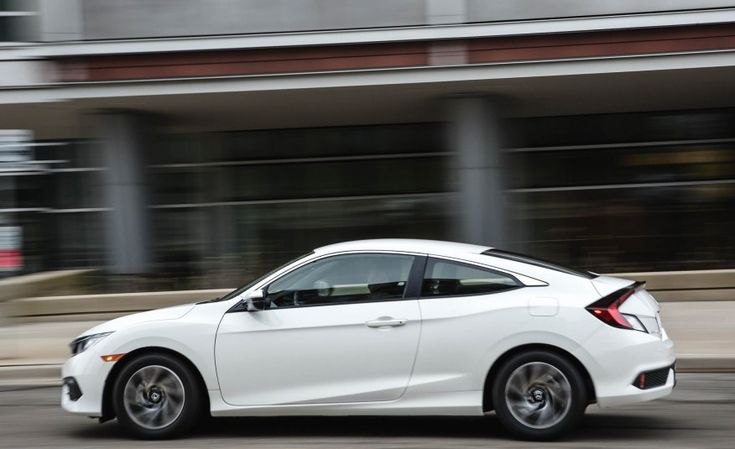 2017 Honda Civic Coupe side view, white color, alloy wheels