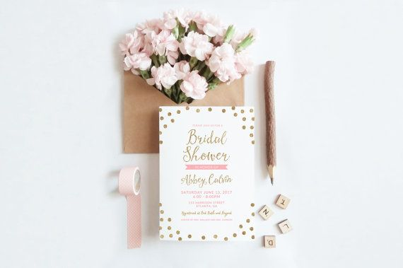 Glitter Bridal Shower Invitation Printable