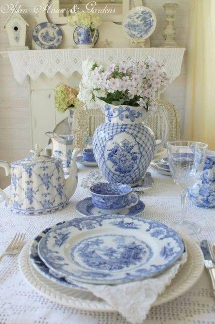 lovely blue & white table, [delicate blue and white MRK]