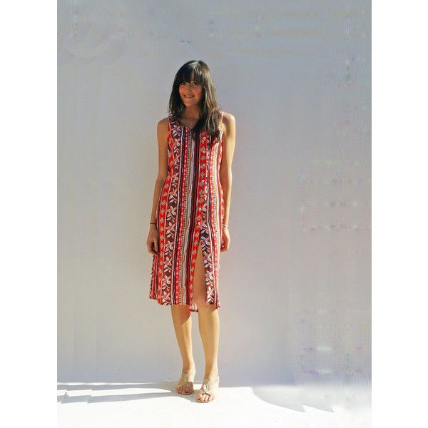 Red Casual Dress, Vintage 80s Multi-Coloured Printed Sleeveless Sun... ($27) ❤ liked on Polyvore featuring dresses