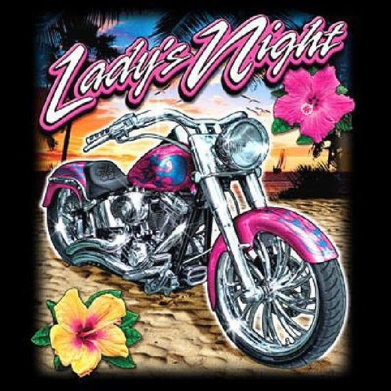 Lady's Night Motorcycle WOMAN'S T Shirt Sizes: Medium, Large, XLarge and 2XLarge (Size Small Pink Only) Shirt Colors: Blue, Gray, Pink, Tan, White, Yellow Description *Graphic is on the Front of the S