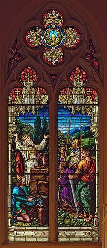 Saint George Roman Catholic Church, in New Baden, Illinois, USA - stained glass window of Melchisidec