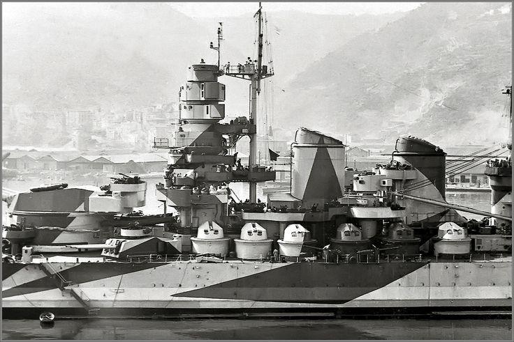 Vintage photographs of battleships, battlecruisers and cruisers.: Italian battleship Vittorio Veneto, La Spezia arsenal, March 1943. Stunning!