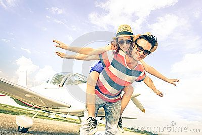 Happy Hipster Couple In Love On Airplane Travel Honeymoon Trip - Download From Over 50 Million High Quality Stock Photos, Images, Vectors. Sign up for FREE today. Image: 55474916