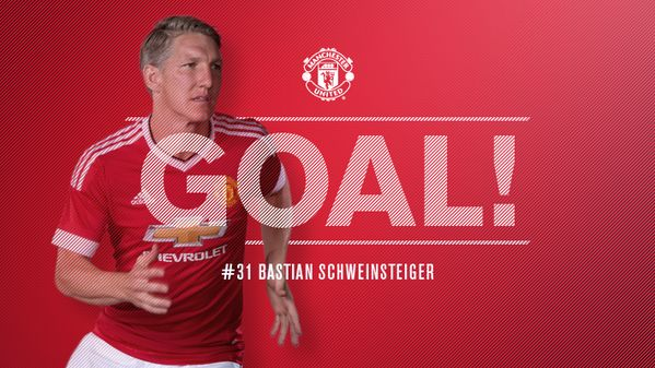 45+1' - GOAL! Leicester 1 United 1. Schweinsteiger heads home Blind's pinpoint corner to draw the Reds level.