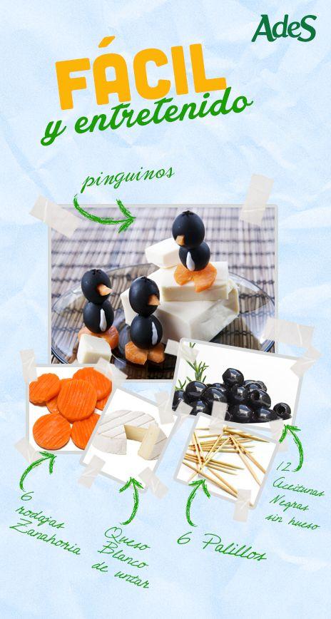 Aprende a hacer estos deliciosos pingüinos hechos con aceitunas y queso. ¡A tus niños les encantarán! Corta las zanahorias en rodajas para hacer el pico y las patas del pingüino. Para el pico saca un triangulito de cada rodaja de zanahoria e introdúcelo en la mitad de las aceituna, que será la cabeza del pingüino. En otra aceituna rellena la parte media con el queso para formar el cuerpo. Ahora, coge con unos palillos ambas aceitunas para que puedas sostener mejor el forma del pingüino ¡Y…