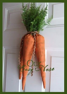 Stuffed Carrots for a Doorway Decoration -- Original Idea for Easter instead of a Wreath!