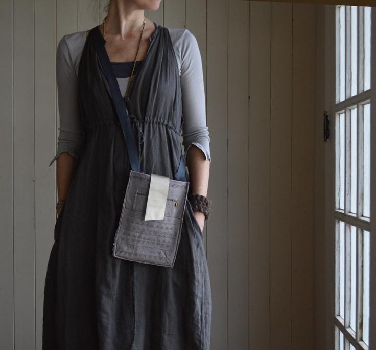hand-made hemp canvas satchel - slate grey
