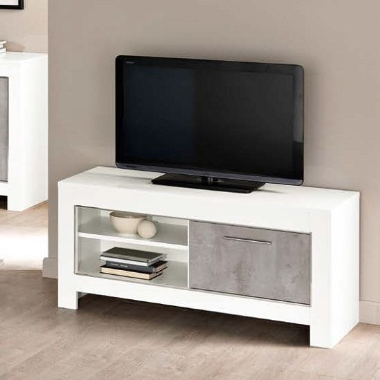 . Lorenz Small TV Stand In Marble Effect And White High Gloss in 2019