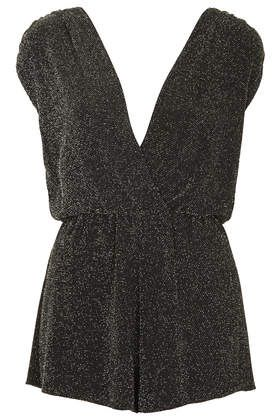**Deep V Metallic Playsuit by Rare