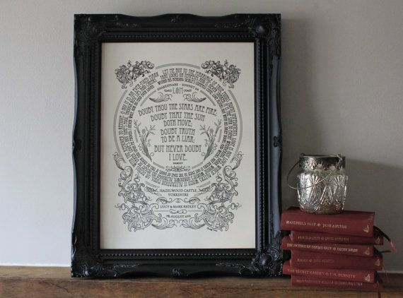 An intricate illustration featuring the words of Shakespeare. A great wedding, engagement or anniversary gift - the traditional material for...