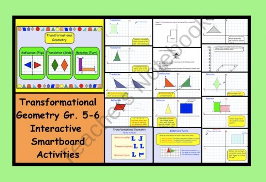 Transformational Geometry Gr. 5-6 Interactive SMARTboard Activities and Printables from Teaching The Smart Way on TeachersNotebook.com (16 pages)