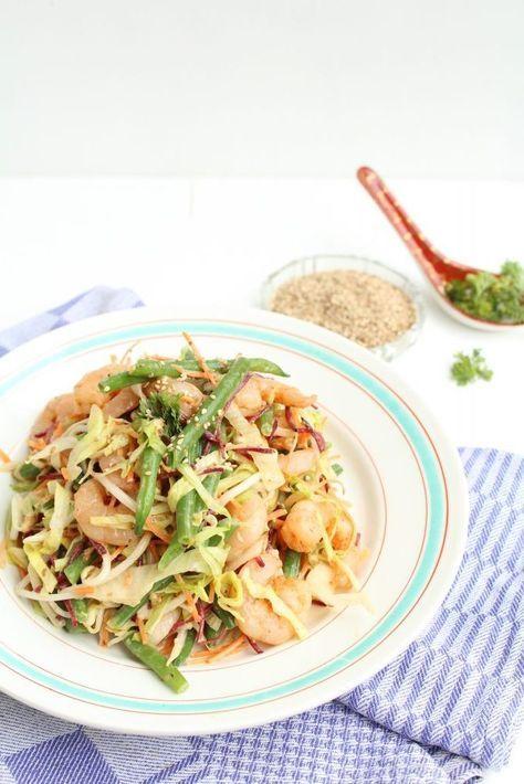 Aziatische salade met gamba's