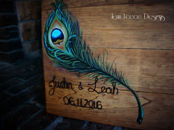 Hand Painted Peacock Feather Guest Book by JennLeeceDesigns