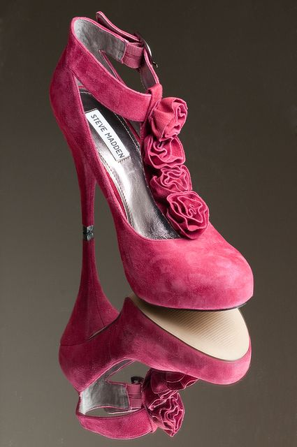 pretty Pink suede pumps with rosette T-strap!
