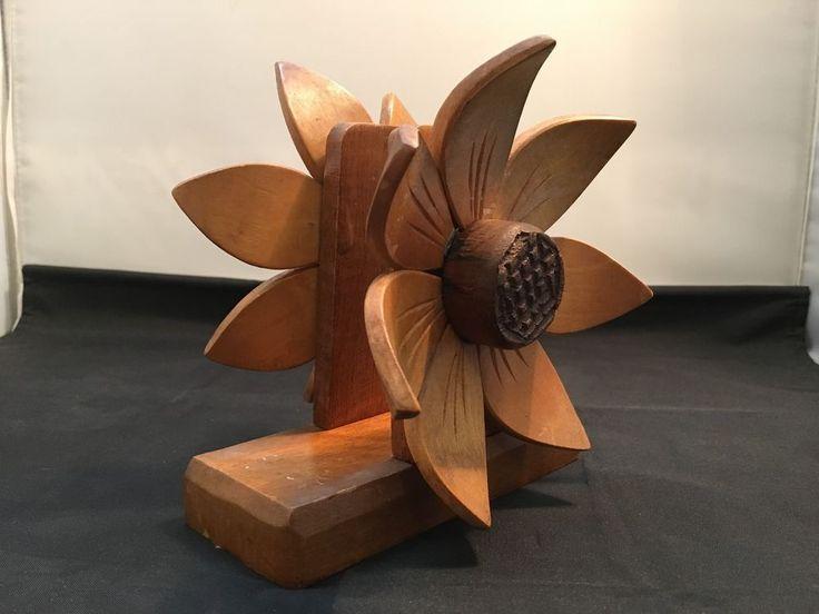 Wood Napkin / Serviette Holder with Sunflowers Design  in Collectables, Homeware, Kitchenware, Napkin Holders   eBay!